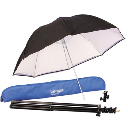 "Lastolite UMBRELLA KIT 80cm (34"") WITH STAND AND SLIDE ON SHOE MOUNT TILTHEAD"