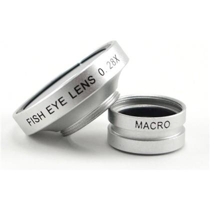 עדשת עין הדג X0.28 +מאקרו לסמארטפון צבע כסוף