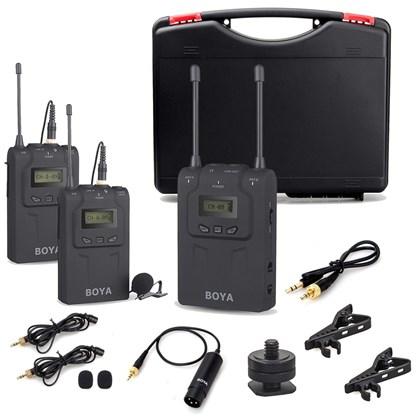 מיקרופון לוידאו BOYA WM8 UHF Dual channel Wireless mic