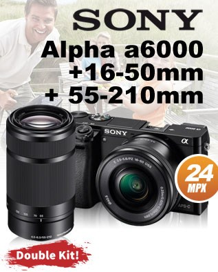 Sony Alpha a6000 + 16-50mm + 55-210mm Double Kit!